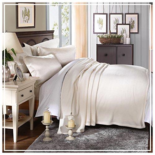 HYSEAS Coral Fleece Twin Size Plush Bed Blanket, Ivory