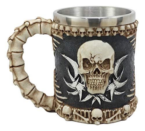 Ebros Evil Grinning Tribal Skull Mug Beer Stein Tankard With Skulls Skeletal Spine Bones Handle Coffee Cup 11 Ounces For Drinks Beverage Holder Container