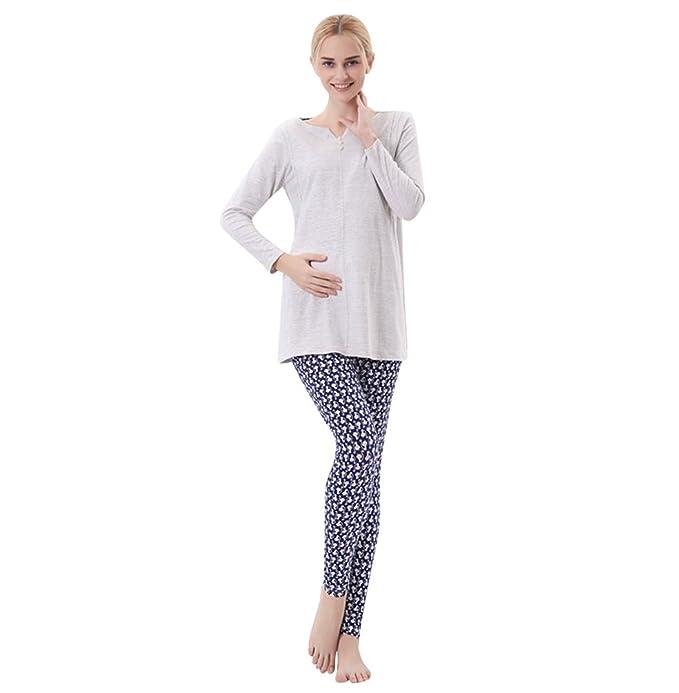 YAANCUN Premamá Camisón Ocio Maternidad de Pijama V Cuello Homewear Conjunto De Pijama Cálidas Embarazo y Lactancia: Amazon.es: Ropa y accesorios