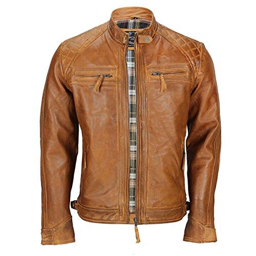 Biker-Jacke aus weichem, echtem, braunem Leder in antiker, ausgewaschener Optik mit Reißverschluss für Herren