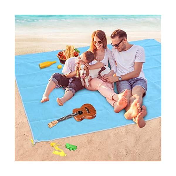 Idefair Coperta da Spiaggia, Telo Antisabbia Mare con 4 Picchetti Grandi Telo Mare per Beach Picnic Camping Coperta da… 4 spesavip