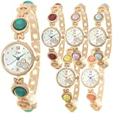 Women's Fashion Wrist Watches Jewelry Pearl Mounted Bracelet Band Cross Heart Roman Numerial Dial Quartz Watch