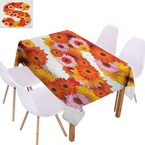 Restaurant Tablecloth Letter S Organic Color Palette Gerbera Bouquet Natural Looking Petals Letter S Alphabet Excellent Durability W40 xL60 Multicolor