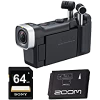 Zoom Q4n Handy Video Recorder with 64GB SD Card,Zoom Rechargeable BT-02 Battery