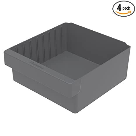 Case of 4 Blue Akro-Mils 31112 11-5/8-Inch L by 11-1/8-Inch W by 4-5/8-Inch H AkroDrawer Plastic Storage Drawer