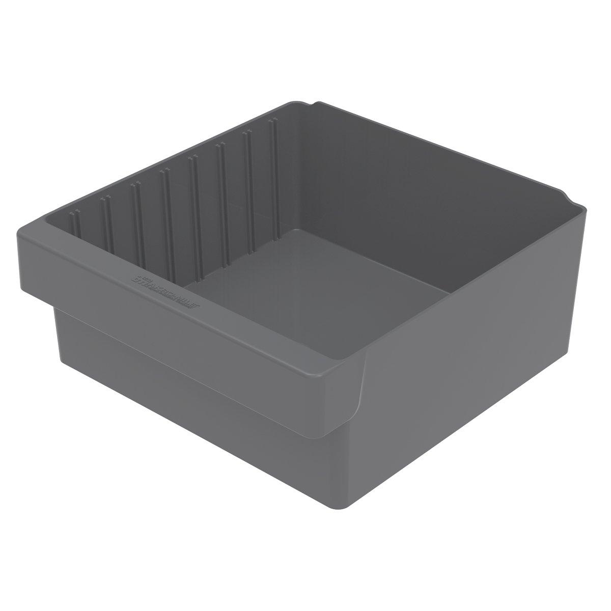 Akro-Mils 31112 11-5/8-Inch L by 11-1/8-Inch W by 4-5/8-Inch H AkroDrawer Plastic Storage Drawer, Grey, Case of 4