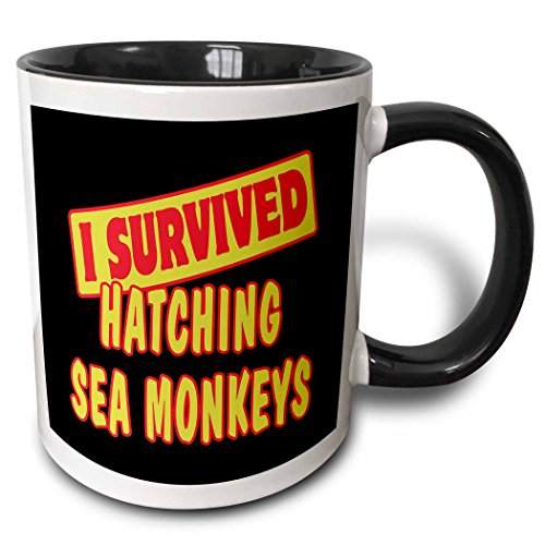 3dRose Dooni Designs Survive Sayings - I Survived Hatching Sea Monkeys Survial Pride And Humor Design - 15oz Two-Tone Black Mug (mug_117997_9)