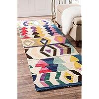 nuLOOM Bohemian Geometric Tribal Hand Made Woolen Runner Area Rugs, 2 6 x 8, Multicolor