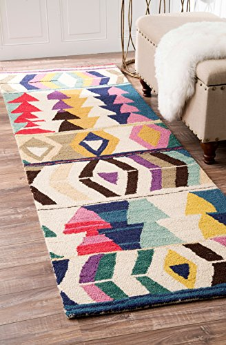 nuLOOM Bohemian Geometric Tribal Hand Made Woolen Runner Area Rugs, 2' 6