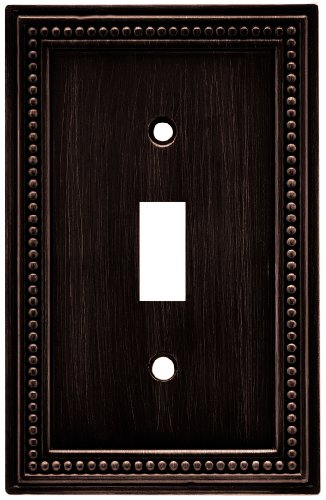 Brainerd 64411 Beaded Single Toggle Switch Wall Plate / Switch Plate / Cover, Venetian Bronze ()