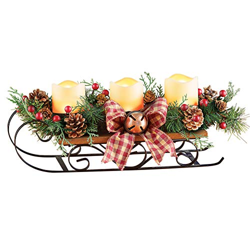 Lighted Primitive Candle Sleigh with 3 LED Flameless Candles - Classic Festive Holiday Warm Decor