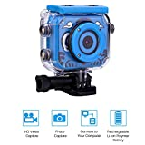 """QLPP Waterproof Digital Kids Camera 12MP HD Underwater Action Cameras Camcorder with 2.0"""" LCD Dive up to 30m Motion Detection for Girls Boys,Blue"""