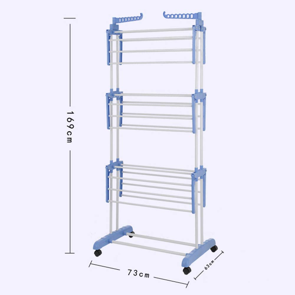 USHOT Fashionable three-layer foldable and movable clothes rack Hang lever White One Size