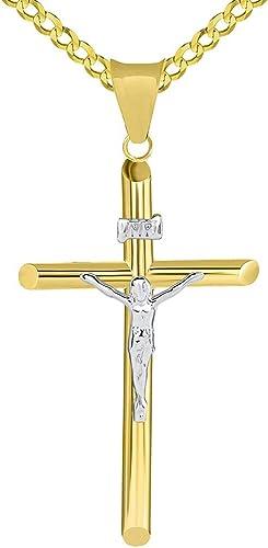 14k Real Solid Yellow Gold Cross Jesus Crucifix Religious Charm Pendant Medium