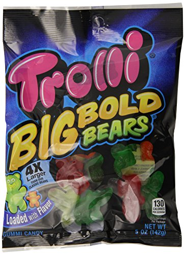 Trolli Big Bold Bears Gummy Candy, 5 Ounce Bag (Pack of 12)