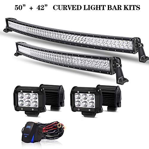 T-Former DOT Approved 50 Inch Curved LED Light Bar + 42Inch Curved Light Bar Combo Offroad Lights + 4PCS 4