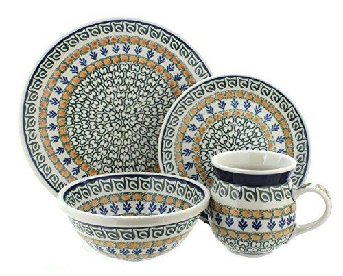 Polish Pottery Herb Garden 4 Piece Dinner Set ()
