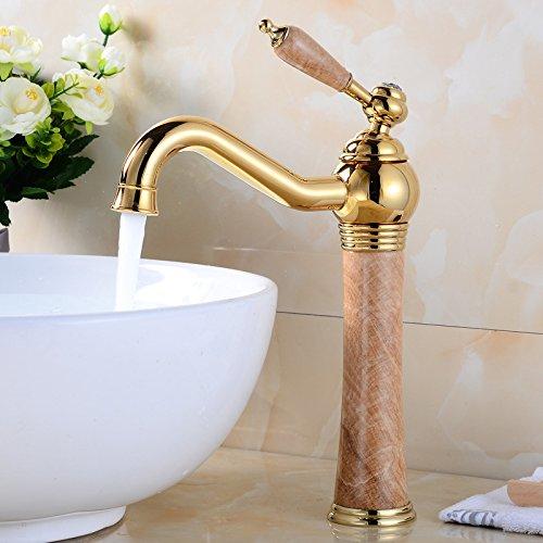 ETERNAL QUALITY Badezimmer Waschbecken Wasserhahn Messing Hahn Waschraum Mischer Mischbatterie Tippen Sie auf Golden Jade Becken B Küchenspüle Armaturen