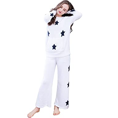outlet store c5e20 c55b7 GWELL Sterne Motiv Damen Schlafanzug Set Loose Style Frottee ...