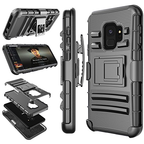 Galaxy S9 Case, Samsung Galaxy S9 Holster Belt, S9 Sturdy Case, Tekcoo [Hoplite] Shock Absorbing [Black] Secure Locking Clip Defender Heavy Full Body Kickstand Carrying Armor Case Cover