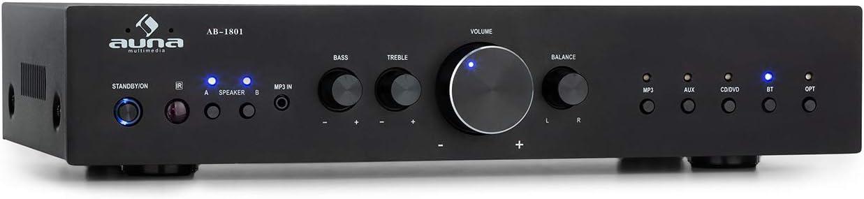 AUNA AV2-CD608BT Amplificador estéreo HiFi – Potencia de Salida Media de 4 x 100 W, Bluetooth, Entrada Digital optica y 4 RCA, Mando a Distancia por Infrarrojos, Negro
