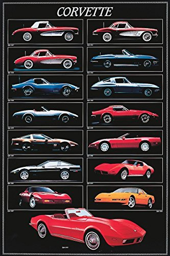 Laminated Corvette Chart Sports Cars Vintage Print Poster 24x36