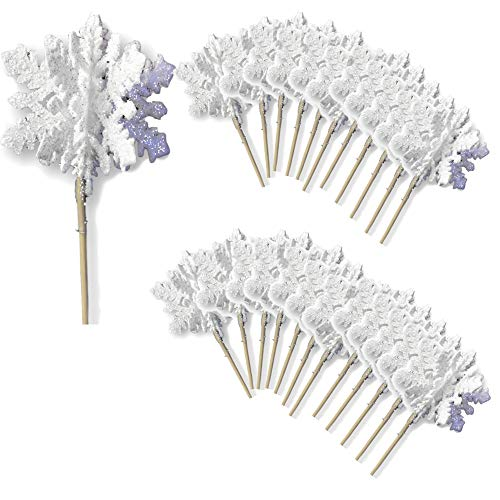 (White Glittered Snowflake Picks - Set of 24 3D White Snowflake Picks - Snow Flake Cupcake Sticks - Winter)
