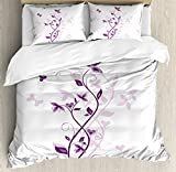 Purple and White Quilt Cover Ambesonne Purple Duvet Cover Set, Violet Tree Swirling Persian Lilac Blooms with Butterfly Ornamental Plant Floral Graphic, A Decorative 3 Piece Bedding Set with Pillow Shams, Queen/Full, Purple White