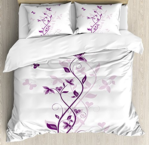 Ambesonne Purple Duvet Cover Set, Violet Tree Swirling Persian Lilac Blooms with Butterfly Ornamental Plant Graphic, Decorative 3 Piece Bedding Set with 2 Pillow Shams, King Size, Purple White (Cover Purple Duvet White And)