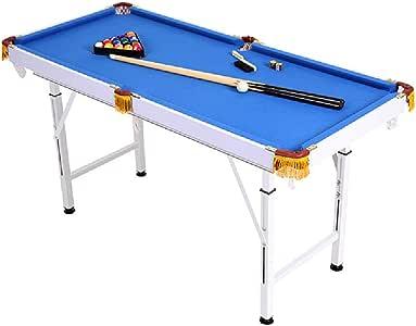 Mesa de billar YYX Plegables Ajustables Billar/Pool Juego Set Mesas for familias, niños y audlts - Incluye 2 Cues, 16 Bolas, Cepillo y el triángulo (Size : Length 140 ...