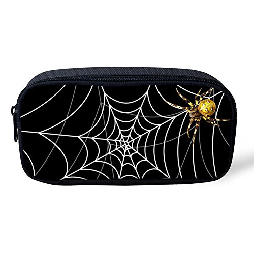 Pencil Pen Case Travel Cosmetic Makeup Bag Pouch Holder Box Organizer Halloween Gold Widow Spider Cobweb -