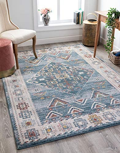 Well Woven Kyra Blue Vintage Tribal Medallion Area Rug 8×10 7'10″ x 10'6″