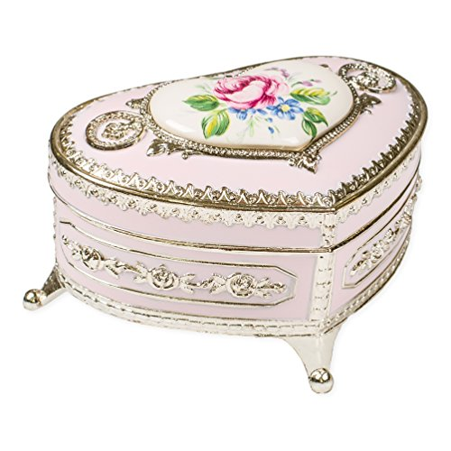 (Rose Pink Peony Flower Silver Tone Metal Keepsake Music Box Plays Tune Memory)