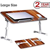 Avantree Adjustable Laptop Table for Bed, Portable Standing Desk, Foldable Bed Table Sofa Breakfast Tray, Notebook Stand Reading Holder for Couch Floor Kids (Red) - Minitable L [2 Year Warranty]