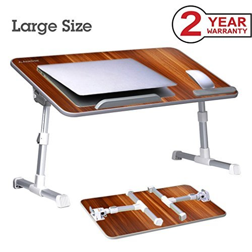 Adjustable Tray Table - Neetto [Large Size] Adjustable Laptop Bed Table, Portable Standing Desk, Foldable Sofa Breakfast Tray, Notebook Stand Reading Holder for Couch Floor Kids - American Cherry