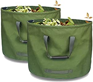 2-Pack Yard Waste Bags - 33 Gallons Reusable Leaf Bags Durable Military Canvas Lawn Bags for Leaves Multipurpose Garden Bags for Lawn, Leaf, Fruits, or vegetables - Ationgle