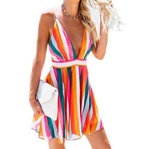 - RUEWEY Women Spaghetti Straps Deep V-Neck Stripes Backless Evening Party Cocktail Swing Mini Dress (M, Colorful)