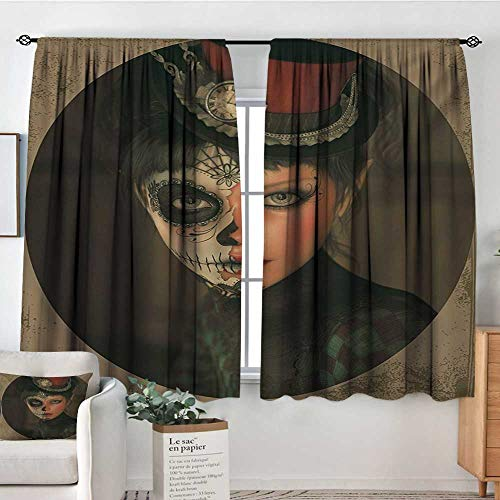 Sugar Skull Window Curtain Drape Antique Portrait Girl with Calavera Inspired Makeup and Topper Realistic Design Door Curtain Blackout 55