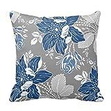 Generic Custom Square Dark Blue Gray White Floral Decorative Pillow Cover Cotton Pillowcase Cushion Cover 20 X 20