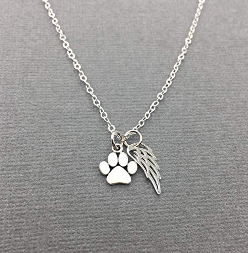 Sterling Silver Pet Loss Gift, Cat Memorial Necklace, Dog Paw Print Jewelry, Loss of Cat or Dog with Angel Wing Charm (Pet Charm Angel)