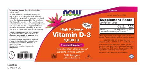 NOW Vitamin D-3 1,000 IU,360 Softgels