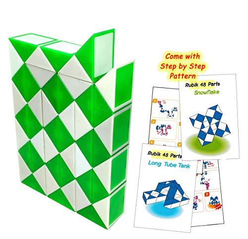 (Fonza Rubik Snake 48 Green White Standard Size Come Step Step Pattern Cards Novice to Intermediate Player.)