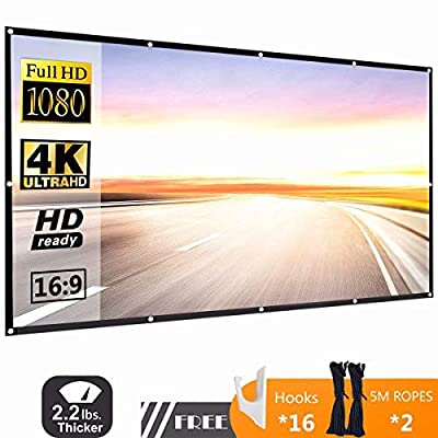 120 Inch 16:9 HD Projector Screen, P-JING Portable Widescreen Foldable Anti-Crease Indoor Outdoor Projector Movies Screen for Home Theater Support Double Sided Projection