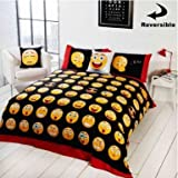 Twin Size Emoji Bed in a Bag England Emoji Icons Reversible Single Comforter Cover Set