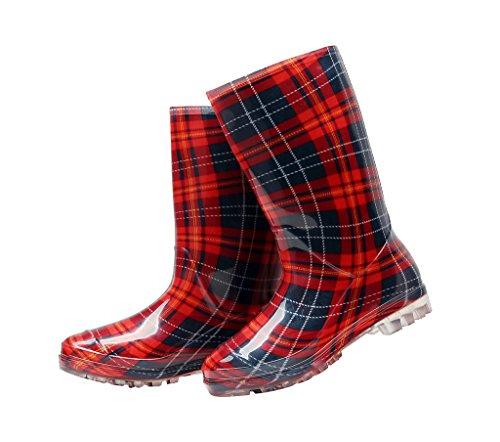 Kontai Womens Regen En Tuin Laarsjes Half Kalf Rubber Regenlaarzen Bloemenprint Waterdicht Voor Tuin Dames Regen Schoeisel Rode Plaid