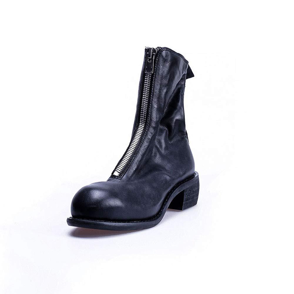 Damen Leder Front Reißverschluss Stiefelies Innen Und Außen Weiche Leder-Umgedrehte Stiefel 2018 Herbst Winter Punk Style,schwarz2,35