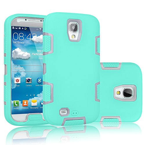 Galaxy S4 Case, Tekcoo(TM) [Troyal Series] [Turquoise/Grey] Hybrid Shock Absorbing Shock Dust Dirt Proof Defender Rugged Full Body Hard Case Cover Shell For Samsung Galaxy S4 S IV I9500 All Carriers
