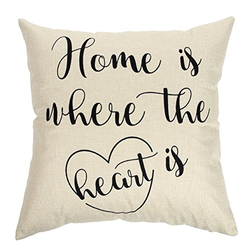 Acelive 18 x 18 inches Unique Pillow Shams Beautiful Cotton Linen Home Is Where The Heart Is Pattern Sofa Simple Home Decor Throw Pillow Case For Sofa Bedroom Living Room Square Holiday Gift