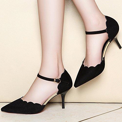 KHSKX-Spring And Summer New High Heeled Shoes Women Sharp Sharp And Lady Sandals Waterproof Platform Leisure Ol Working Shoes Woman Black vgdzU95