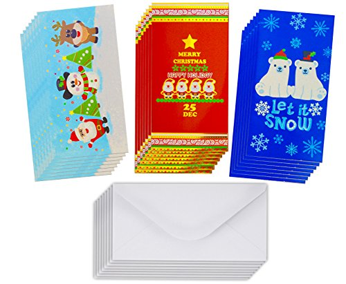 Cash Designs - Christmas Gift Card Holders with Envelopes/Christmas Money Card Holder for Xmas Checks,Gift Cards or Cash (Glitter/Hot Stamps) (Designs 1, 25 count)